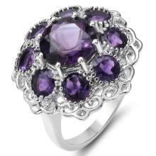 5.44 Carat Genuine Amethyst .925 Sterling Silver Ring #78078v3