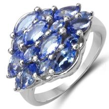 2.48 Carat Genuine Tanzanite .925 Sterling Silver Ring #78105v3