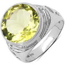 5.80 Carat Genuine Lemon Topaz .925 Sterling Silver Ring #77490v3