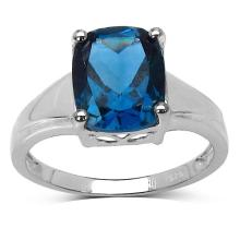 3.50 Carat Genuine Blue Topaz .925 Streling Silver Ring #77480v3