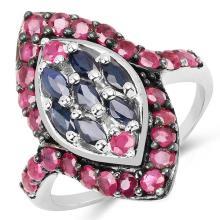 2.01 Carat Genuine Blue Sapphire & Ruby .925 Sterling Silver Ring #77444v3