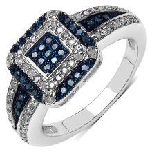 0.50 Carat Genuine Blue Diamond & White Diamond .925 Sterling Silver Ring #77933v3
