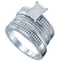 925 Sterling Silver White 0.42CT DIAMOND MICRO PAVE TRIO SET #55918v3