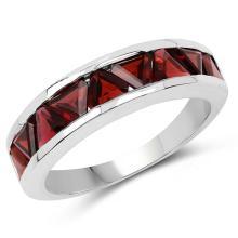 3.15 Carat Genuine Garnet .925 Sterling Silver Ring #77782v3