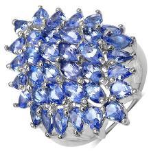 5.00 Carat Genuine Tanzanite Sterling Silver Ring #77930v3