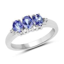 1.00 Carat Genuine Tanzanite & White Diamond .925 Sterling Silver Ring #77958v3