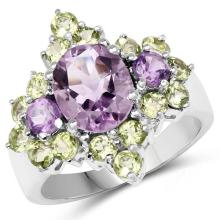 4.23 Carat Genuine Amethyst & Peridot .925 Sterling Silver Ring #77877v3