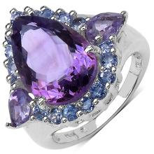 6.80 ct. t.w. Amethyst and Tanzanite Ring in Sterling Silver #77873v3