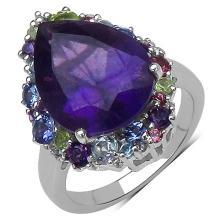 5.47 Carat Genuine Multi Stone .925 Sterling Silver Ring #78059v3