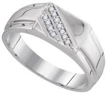 10KT White Gold 0.08CTW DIAMOND MENS FASHION BAND #56883v3