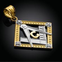 10K Two-Tone Gold Square Freemason Diamond Masonic Pendant #23668v3