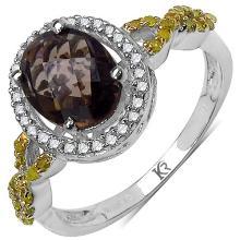 1.58 Carat Genuine Smoky Quartz and 0.32 ct.t.w Genuine Diamond Accents Sterling Silver Ring #77855v3
