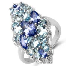 3.20 Carat Genuine Tanzanite & Blue Topaz .925 Sterling Silver Ring #78063v3