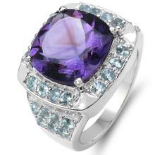 6.77 Carat Genuine Amethyst & Blue Topaz .925 Sterling Silver Ring #77966v3