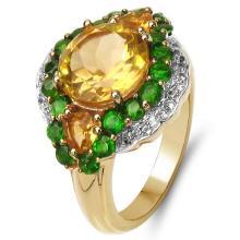14K Yellow Gold Plated 4.13 Carat Genuine Golden Citrine, Chrome Diopside & White Topaz .925 Sterling Silver Ring #77965v3