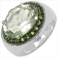 6.20 Carat Genuine Green Amethyst & Chrome Diopside .925 Streling Silver Ring #77875v3