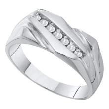 10KT White Gold 0.12CT DIAMOND FASHION MENS BAND #56058v3