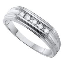 10KT White Gold 0.12CT DIAMOND FASHION MENS BAND #56057v3