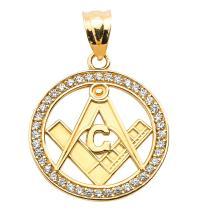 10K Yellow Gold Diamonds Studded Freemason Masonic Pendant APPROX .38 CTW (I1-I2) #23734v3