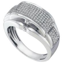 10KT White Gold 0.50CT DIAMOND MICROPAVE MENS BAND #55877v3