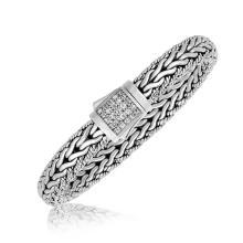 Sterling Silver Braided Design Men's Bracelet with White Sapphire Stones #91301v2