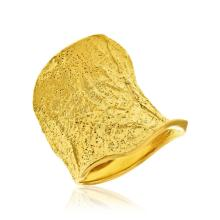Sterling Silver Yellow Tone Distressed Style Stardust Concave Ring #91293v2