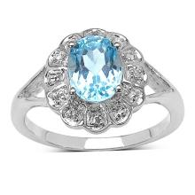 1.60 ct. t.w. Blue Topaz and White Topaz Ring in Sterling Silver #77320v3