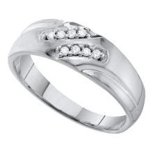 10KT White Gold 0.12CT DIAMOND FASHION MENS BAND #55391v3