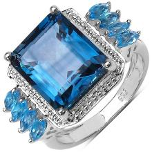 8.10 ct. t.w. London Blue Topaz and Swiss Blue Topaz Ring in Sterling Silver #77099v3