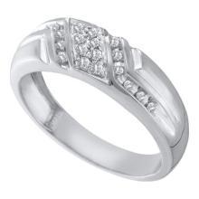 10KT White Gold 0.10CT DIAMOND FASHION MENS BAND #55292v3