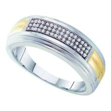 10KT White Gold Two Tone 0.15CT DIAMOND MICRO PAVE MENS BAND #55869v3