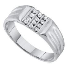 10KT White Gold 0.15CT DIAMOND CLUSTER MENS RING #55380v3