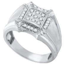 10KT White Gold 0.25CT DIAMOND CLUSTER MENS RING #55368v3