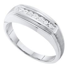 14KT White Gold 0.15CTW DIAMOND FASHION MENS BAND #55376v3