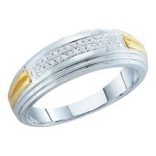 10KT White Gold Two Tone 0.10CT DIAMOND FASHION MENS BAND #55873v3