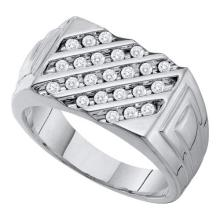 10KT White Gold 0.51CT DIAMOND FASHION MENS RING #55294v3