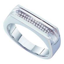 10KT White Gold 0.10CT DIAMOND MICRO PAVE MENS RING #55872v3