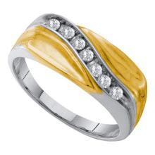 14KT White Gold 0.25CT DIAMOND MENS CLUSTER BAND #55366v3