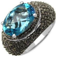 7.12 Carat Genuine Swiss Blue Topaz and 0.88 ct.t.w Genuine Diamond Accents Sterling Silver Ring #77330v3