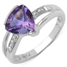 1.50 Carat Genuine Amethyst and 0.01 ct.t.w Genuine Diamond Accents Sterling Silver Ring #76739v3