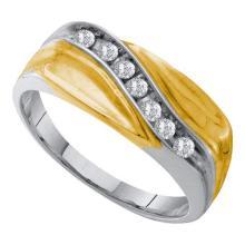 10KT White Gold 0.25CT DIAMOND CLUSTER MEN'S BAND #55367v3