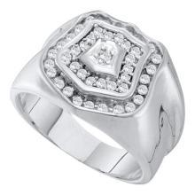 10KT White Gold 0.50CT DIAMOND CLUSTER MENS RING WHITE GOLD #55293v3