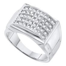 10KT White Gold 0.50CTW DIAMOND CLUSTER MENS BAND #55298v3