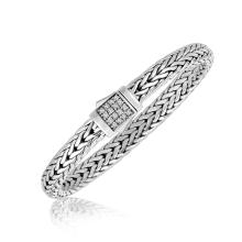 Sterling Silver Braided Style Men's Bracelet with White Sapphire Stones #91241v2