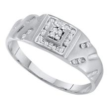 10KT White Gold 0.12CTW DIAMOND CLUSTER MENS RING #55382v3