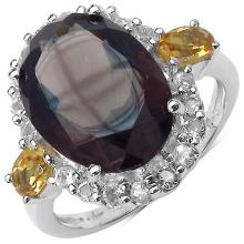 5.44 Carat Smoky Quartz Ring with 1.26 ct. t.w. Multi-Gems in Sterling Silver #77326v3