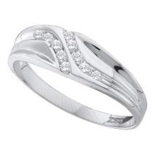 14KT White Gold 0.12CTW DIAMOND MENS FASHION BAND #55381v3