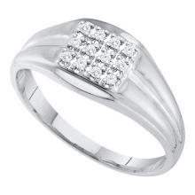 10KT White Gold 0.12CTW DIAMOND CLUSTER MENS RING #55379v3