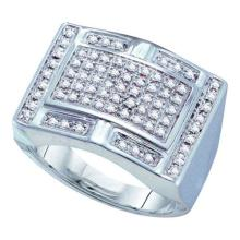 10KT White Gold 0.50CTW DIAMOND MICRO-PAVE MENS RING #55296v3