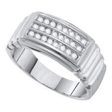 10KT White Gold 0.25CTW DIAMOND CLUSTER MENS RING #55369v3